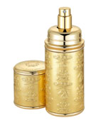 Logo Etched Leather Atomizer, Gold/Gold