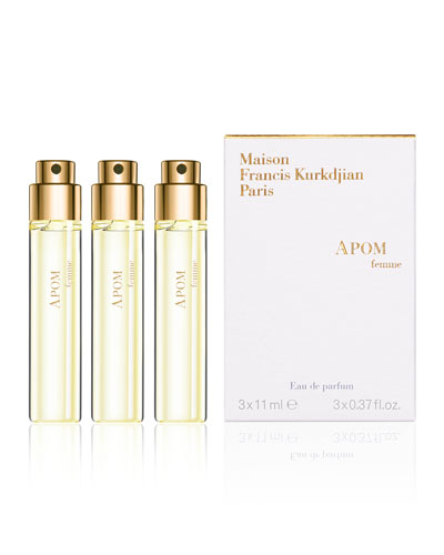APOM femme Eau de Parfum Travel Spray Refills, 3 x 0.37 oz./ 11 mL