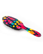 Large Black with Multicolor Dots Mixed Bristle Hairbrush