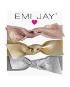 Emi Jay Metallic Leather Bow Hair Ties, 3-Pack