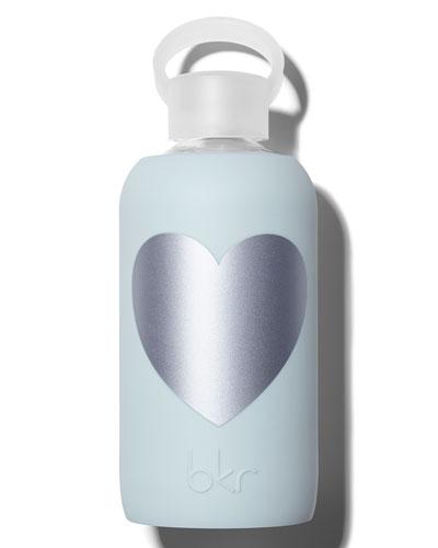 Glass Water Bottle, Silver Wren Heart, 500mL