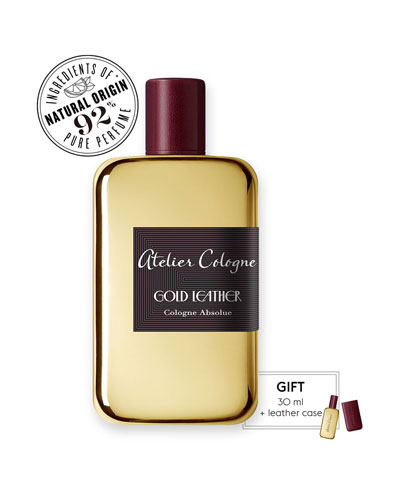 Gold Leather Cologne Absolue, 200 mL with Personalized Travel Spray, 1.0 ...