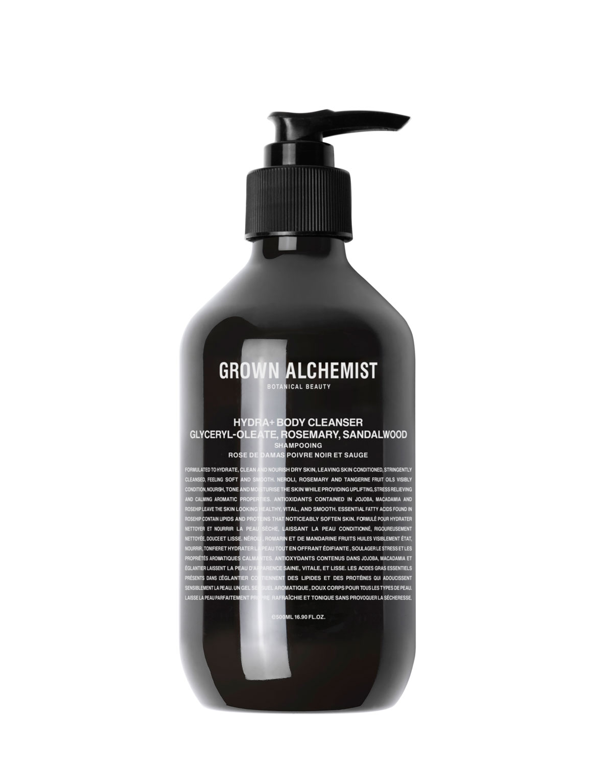 GROWN ALCHEMIST Hydra+ Body Cleanser: Glyceryl-Oleate, Rosemary, Sandalwood - 16.9 Oz./ 500 Ml