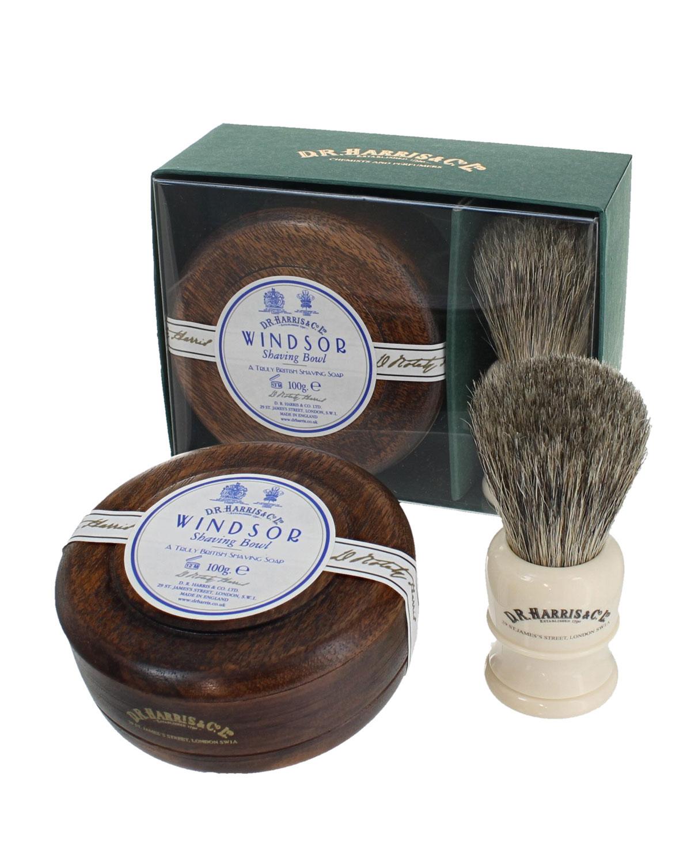 D.R. HARRIS & CO. Windsor Mahogany Gift Set (Bowl + Brush)
