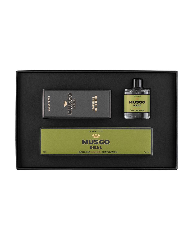 MUSGO REAL Classic Mini Cologne, Shaving Cream And Brush Set