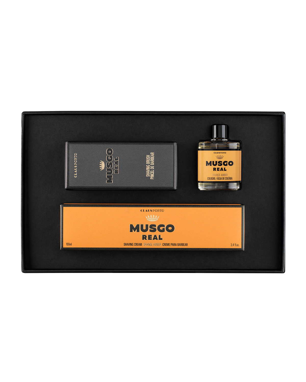 MUSGO REAL Orange Amber Mini Cologne, Shaving Cream And Brush Set