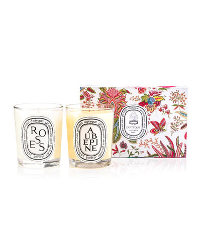 Roses & Aubepine Scented Candle Set, 2 x 6.7 oz./ 190g
