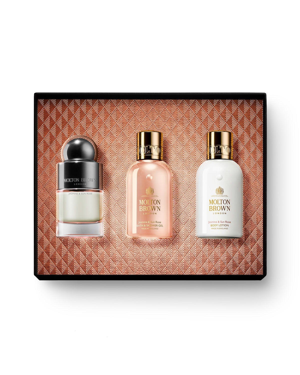 Jasmine & Sun Rose Eau de Toilette, 50 mL Jasmine & Sun Rose Bath & Shower Gel, 100 mL Jasmine & Sun Rose Body Lotion, 100 mL