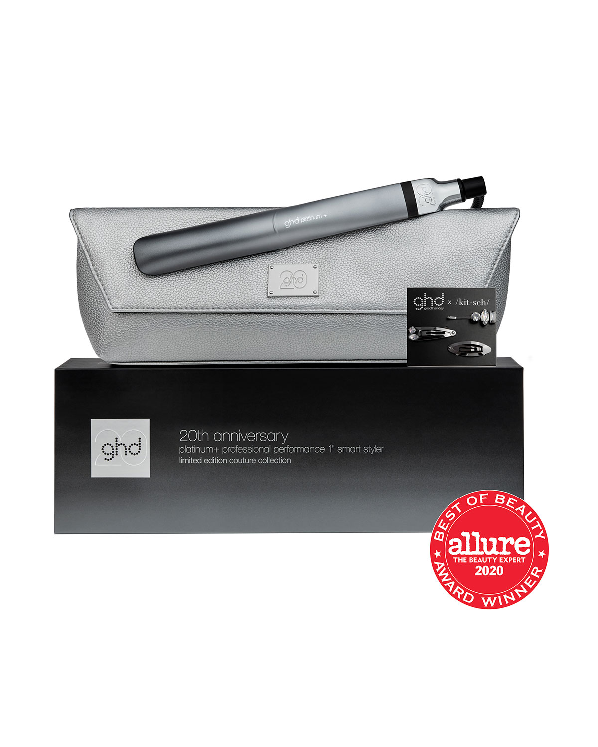 """20th Anniversary Platinum+ 1"""" Smart Styler with Heat-Resistant Bag and 3 Hair Clips"""