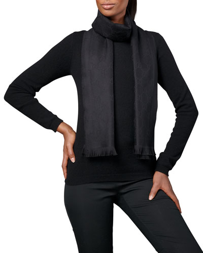Gucci Gg Jacquard Pattern Knitted Scarf, Black