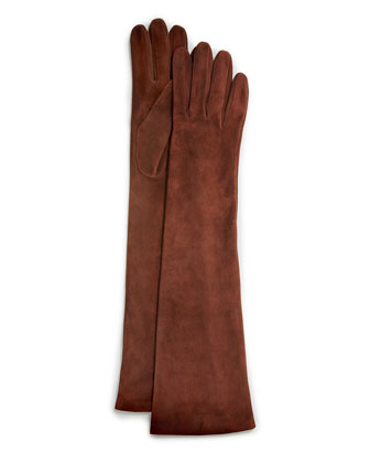 Elbow-Length Suede Gloves