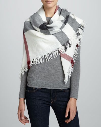 Check Extra Fine Wool Scarf, Ivory