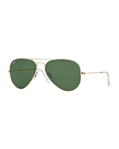 Original Aviator Sunglasses, Golden/Green