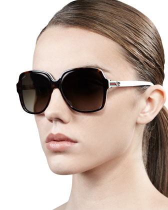 Oversized Square Web-Logo Sunglasses, Dark Havana