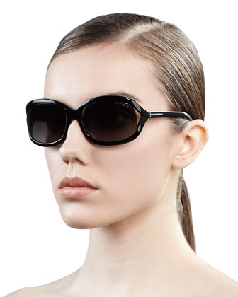 Vivienne Rounded Sunglasses, Shiny Black