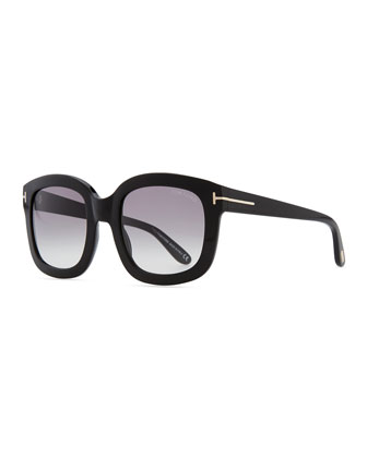 Christophe Oversized Sunglasses, Shiny Black
