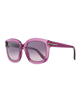 Christophe Oversized Sunglasses, Shiny Violet