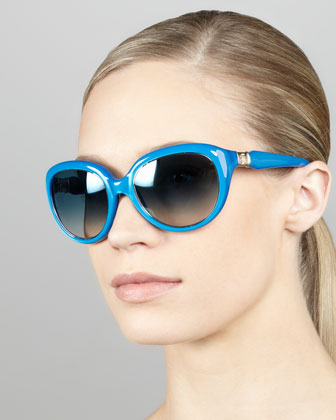 Rounded Cat-Eye Sunglasses, Blue