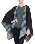 Merino Check Cape, Charcoal