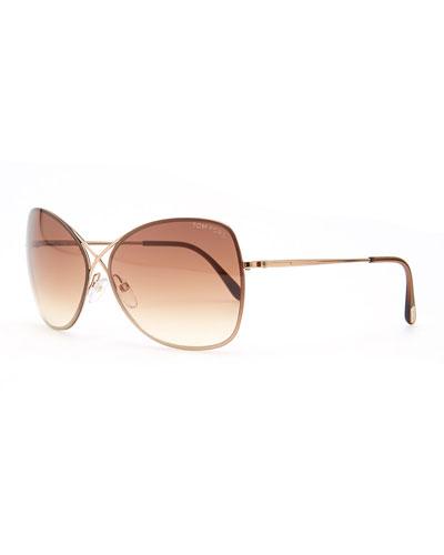 Colette Metal-Frame Butterfly Sunglasses, Rose Golden