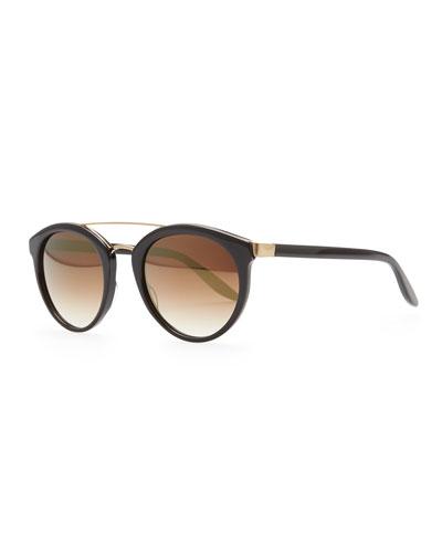 Dalziel Round Sunglasses with Metal Bar, Black/Gold