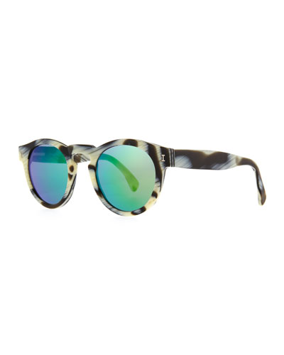 Leonard Round Horn-Pattern Sunglasses with Mirror Lens