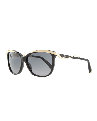 Wave-Arm Sunglasses, Black