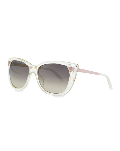 Transparent Plastic Cat-Eye Sunglasses, Clear/Pink/Gray