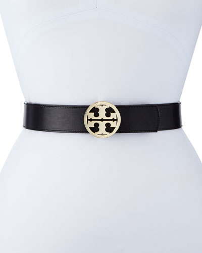 Reversible Classic Logo Leather Belt, Black/Luggage