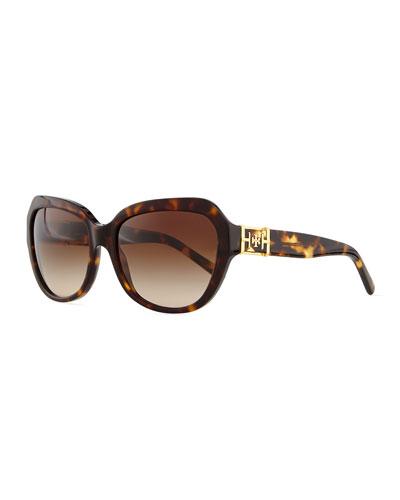 Plastic Cat-Eye Sunglasses, Dark Tortoise