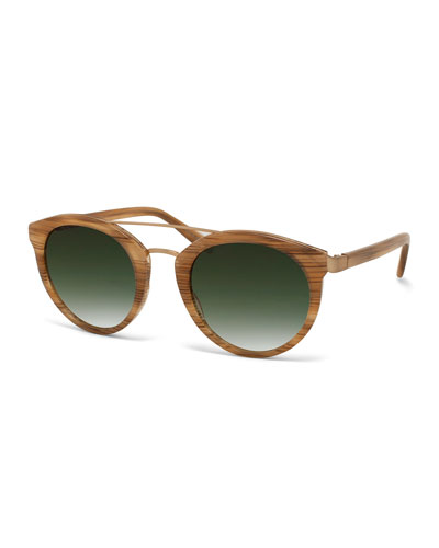 Dalziel Round Sunglasses with Metal Bar, Horn