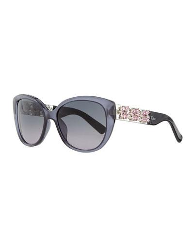Mystere Crystal-Arm Sunglasses, Gray