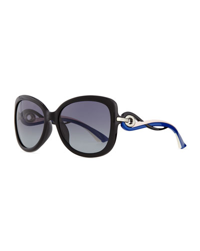 Twisting Diorissimo Sunglasses, Pink/Blue/Black