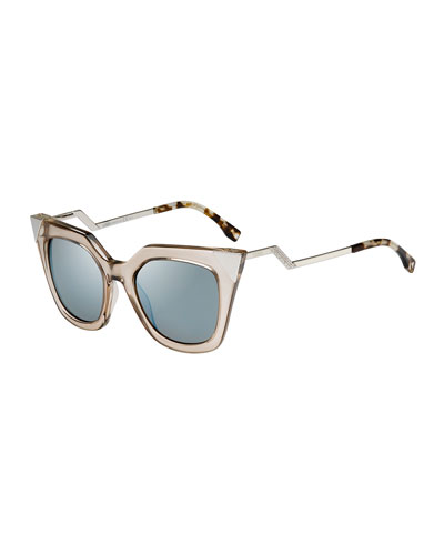 Iridia Flash Sunglasses with Mirror Lens, Light Golden
