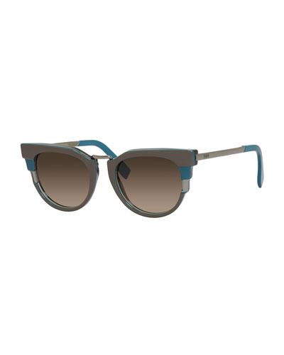 Colorblock Sunglasses, Teal/Gray