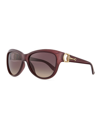 Cat-Eye Diamantissima Sunglasses, Burgundy