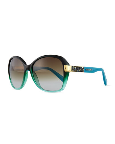 Alana Colorblock Round Butterfly Sunglasses