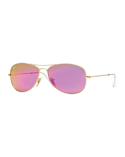 Aviator Sunglasses with Pink Mirror Lens, Golden