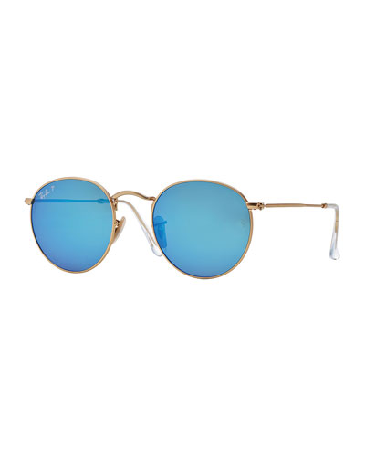 Polarized Round Metal-Frame Sunglasses with Blue Mirror Lens