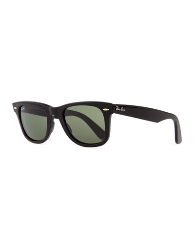 Classic Wayfarer Sunglasses, Black/Green Lens