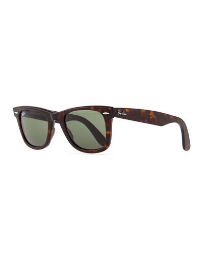 Classic Wayfarer Sunglasses, Tortoise/Green Lens