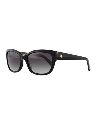 johanna rectangle sunglasses, black