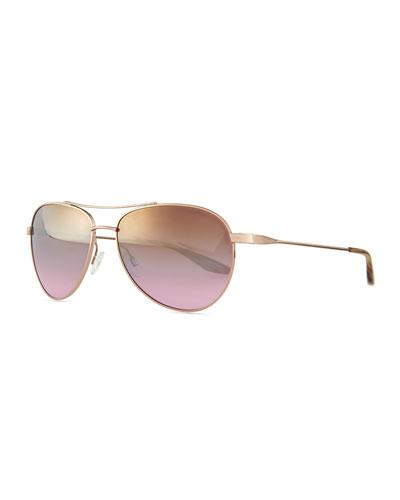 Universal Fit Lovitt Mirror Aviator Sunglasses, Rose Golden