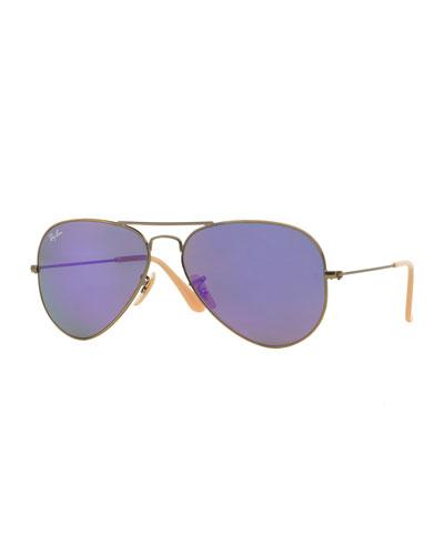 Mirrored Aviator Sunglasses, Purple
