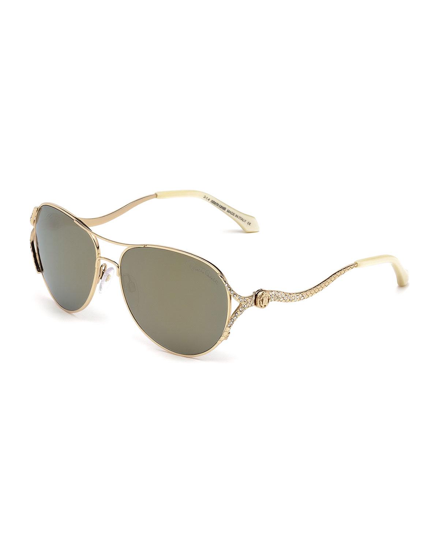 Snake-Temple Aviator Sunglasses