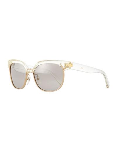 Universal FIt Dafine Hexagonal Sunglasses, Crystal/Golden