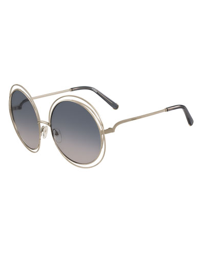 Carlina Round Wire Metal Sunglasses, Golden/Peach