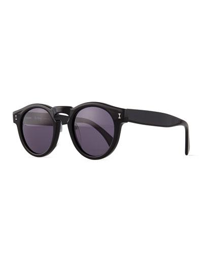 Leonard Round Sunglasses, Black