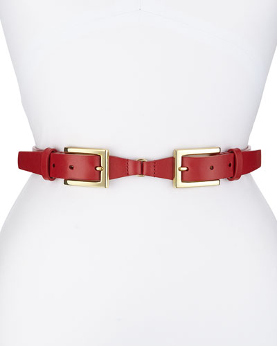Double-Buckle Belt, Red