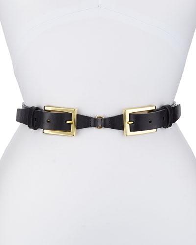 Double-Buckle Belt, Navy